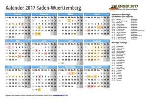 Kalender 2017 Baden-Wuerttemberg Schulferien