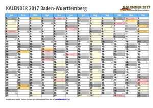 Kalender 2017 Baden-Wuerttemberg Monate mit Schulferien