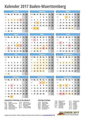 Kalender 2017 Baden-Wuerttemberg Hochformat mit Schulferien