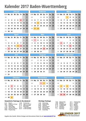 Kalender 2017 Baden-Wuerttemberg Hochformat