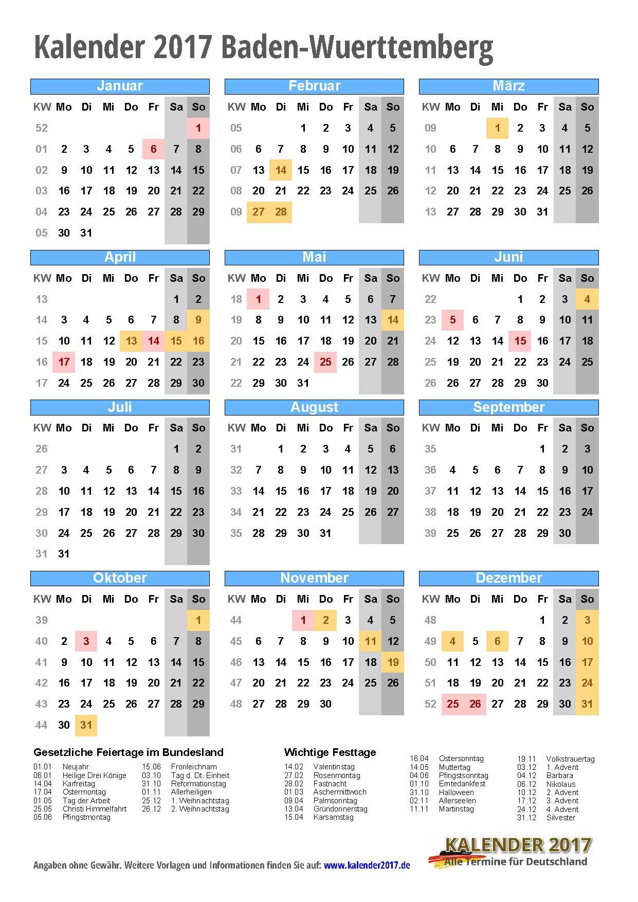 kalender 2017 baden w rttemberg zum ausdrucken kalender 2017. Black Bedroom Furniture Sets. Home Design Ideas