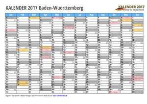 Kalender 2017 Baden-Wuerttemberg Monate