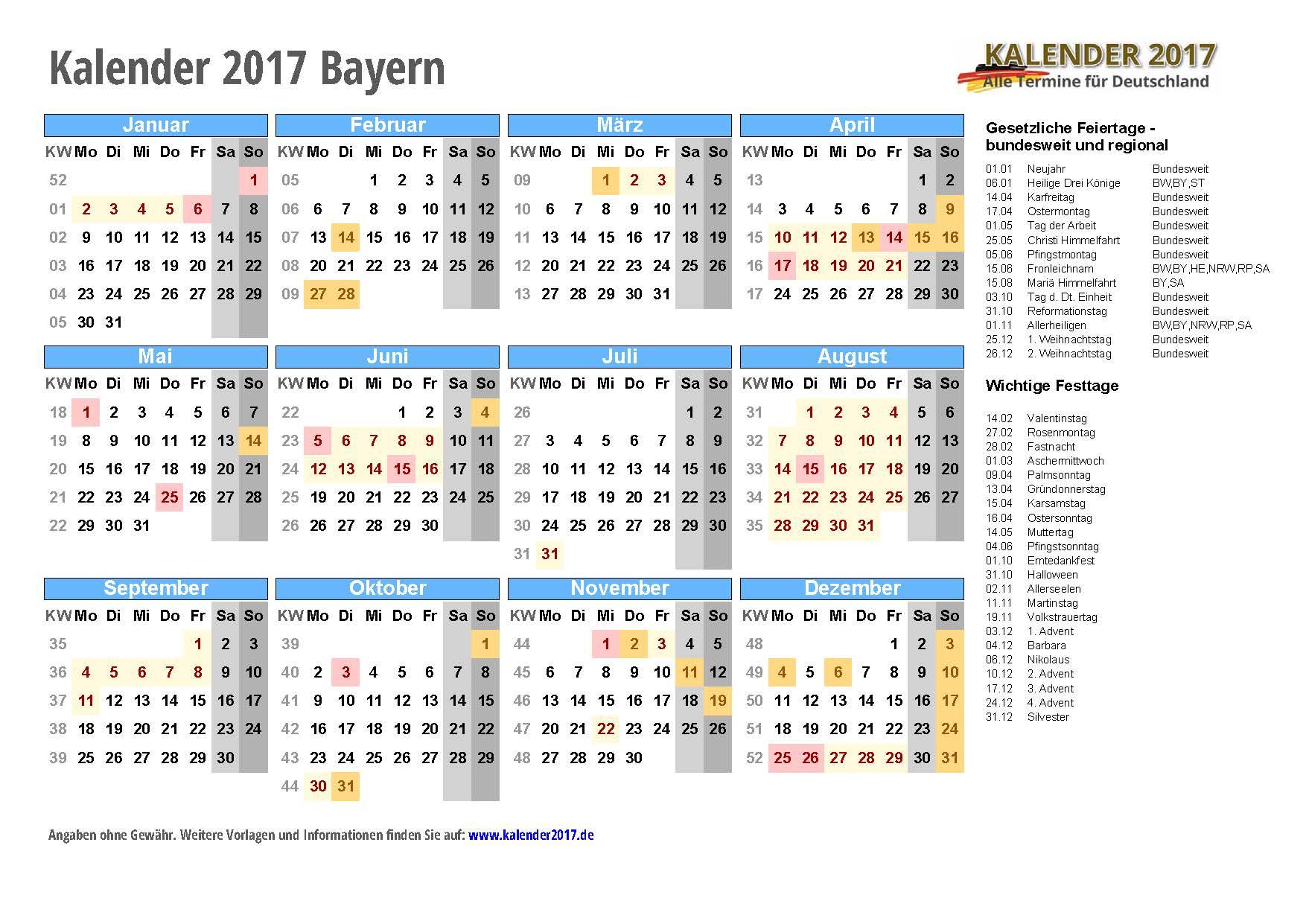 Kalender 2017 Bayern zum Ausdrucken - KALENDER 2017