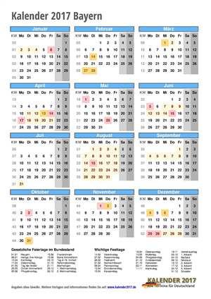 Kalender 2017 Bayern Hochformat mit Schulferien