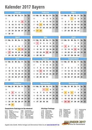 Kalender 2017 Bayern Hochformat