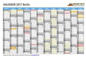 Kalender 2017 Berlin Monate mit Schulferien