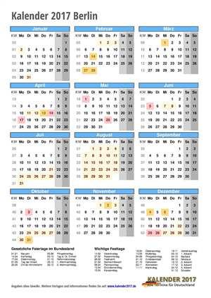 Kalender 2017 Berlin Hochformat mit Schulferien