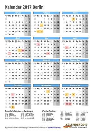 Kalender 2017 Berlin Hochformat