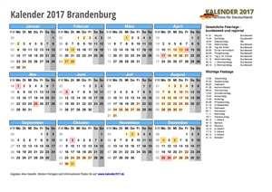 Kalender 2017 Brandenburg Schulferien