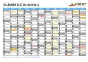 Kalender 2017 Brandenburg Monate mit Schulferien