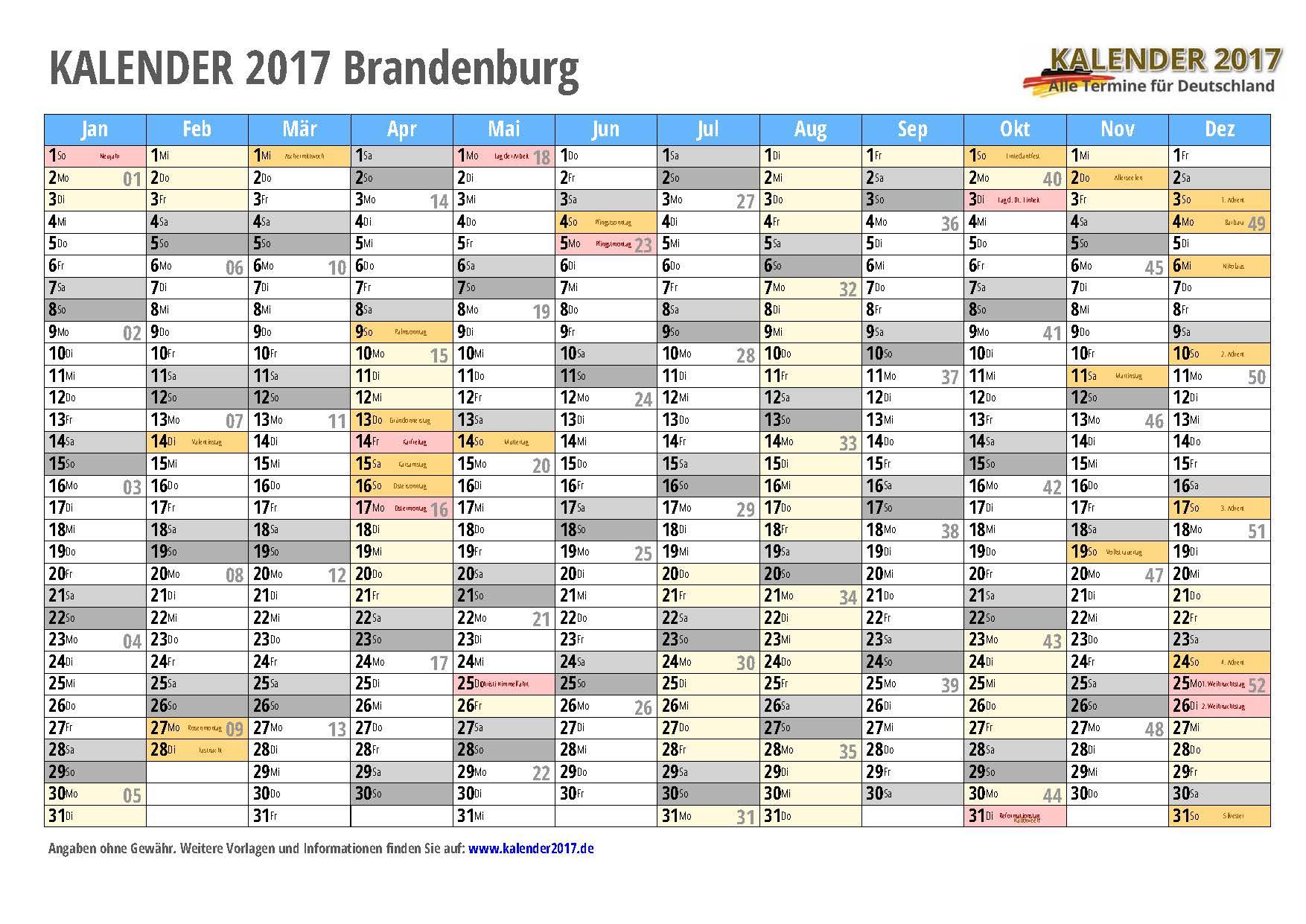kalender 2017 brandenburg zum ausdrucken kalender 2017. Black Bedroom Furniture Sets. Home Design Ideas