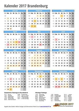 Kalender 2017 Brandenburg Hochformat mit Schulferien