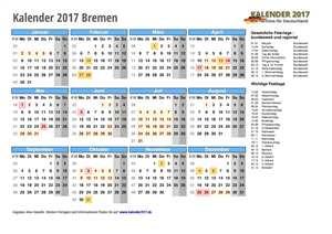 Kalender 2017 Bremen Schulferien