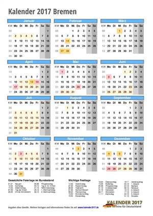Kalender 2017 Bremen Hochformat mit Schulferien