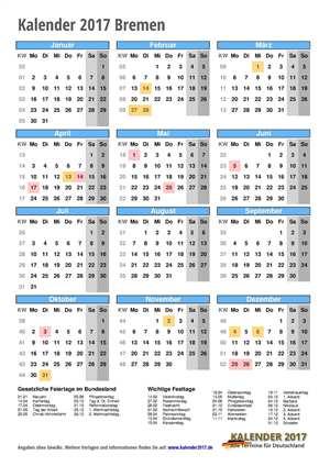 Kalender 2017 Bremen Hochformat