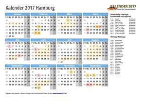 Kalender 2017 Hamburg Schulferien