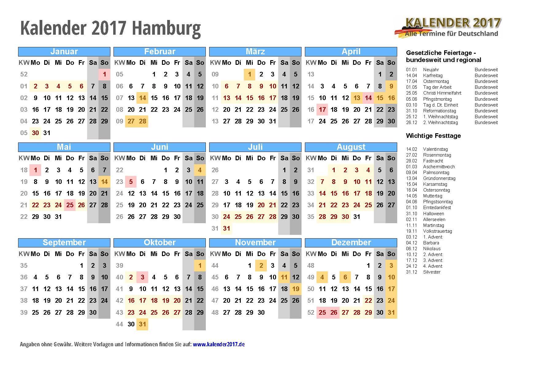 kalender 2017 hamburg zum ausdrucken kalender 2017. Black Bedroom Furniture Sets. Home Design Ideas