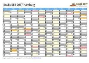 Kalender 2017 Hamburg Monate mit Schulferien