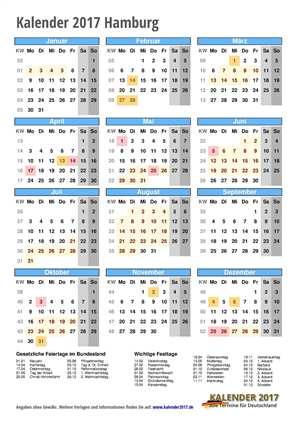 Kalender 2017 Hamburg Hochformat mit Schulferien