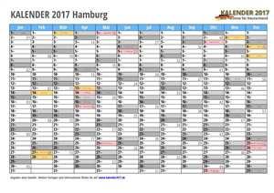 Kalender 2017 Hamburg Monate