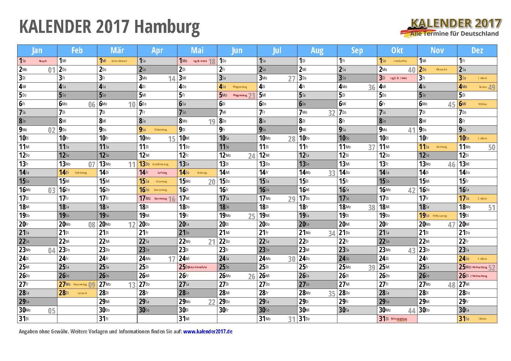 Kalender 2017 Hamburg Zum Ausdrucken Kalender 2017