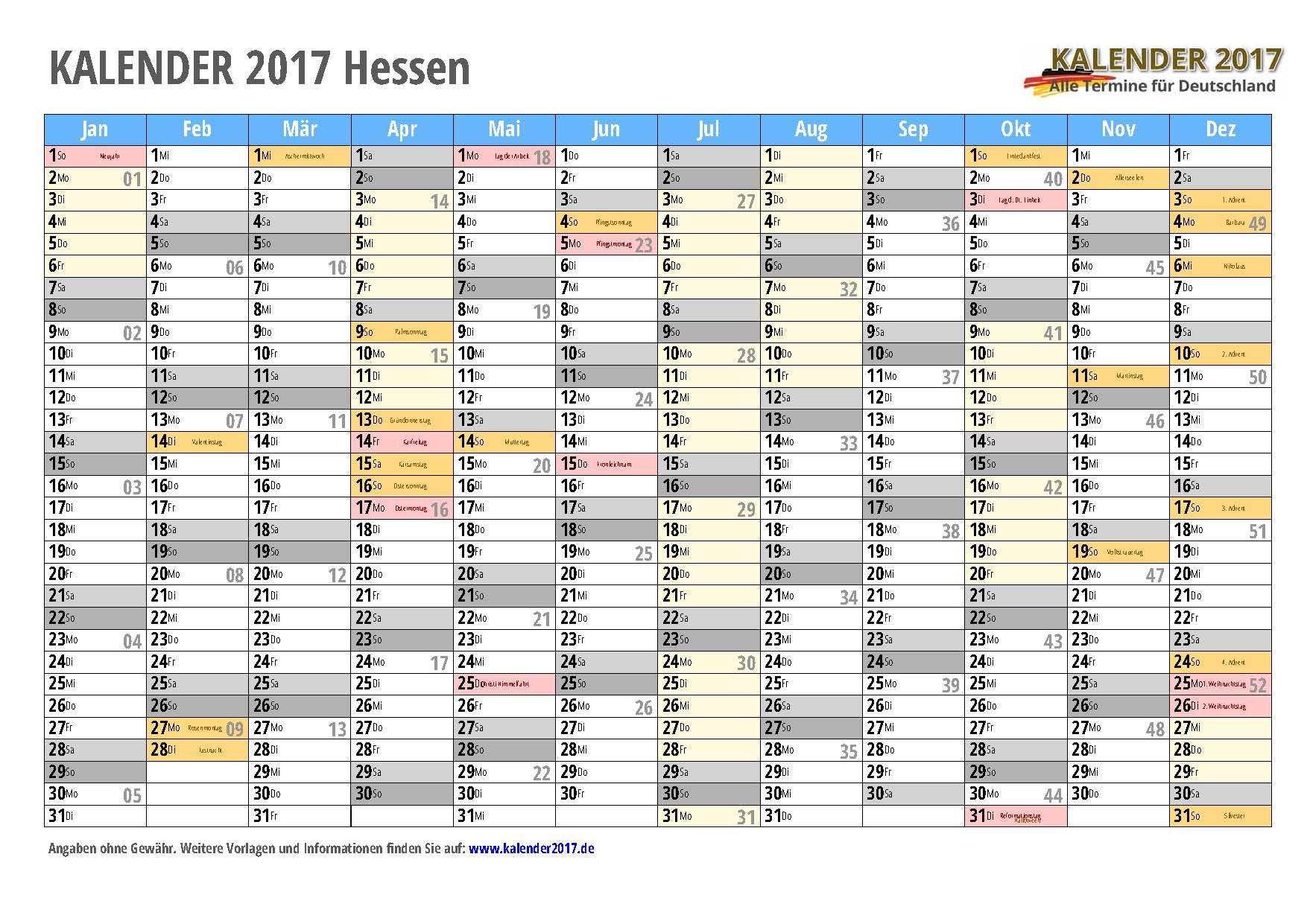 Kalender 2017 Hessen zum Ausdrucken - KALENDER 2017