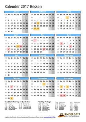 Kalender 2017 Hessen Hochformat