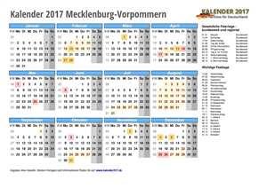 Kalender 2017 Mecklenburg-Vorpommern Schulferien
