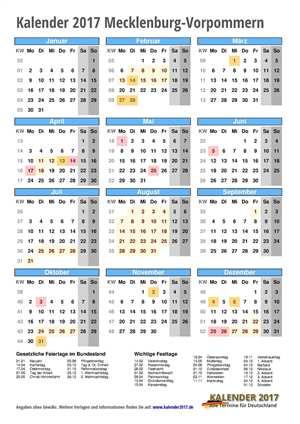 Kalender 2017 Mecklenburg-Vorpommern Hochformat mit Schulferien