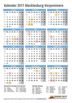Kalender 2017 Mecklenburg-Vorpommern Hochformat