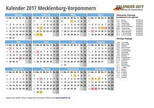 Kalender 2017 Mecklenburg-Vorpommern