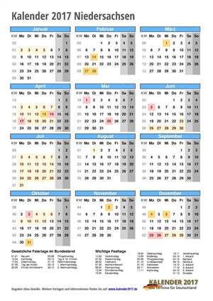 Kalender 2017 Niedersachsen Hochformat mit Schulferien