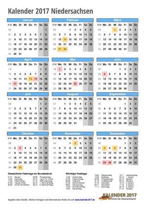 Kalender 2017 Niedersachsen Hochformat