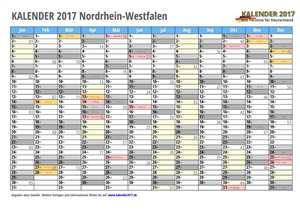Kalender 2017 NRW Monate mit Schulferien