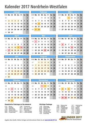 Kalender 2017 NRW Hochformat mit Schulferien