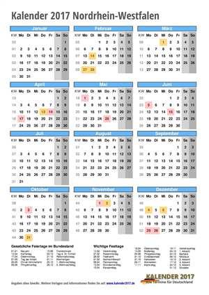 Kalender 2017 NRW Hochformat