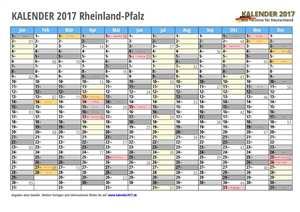 Kalender 2017 Rheinland-Pfalz Monate mit Schulferien