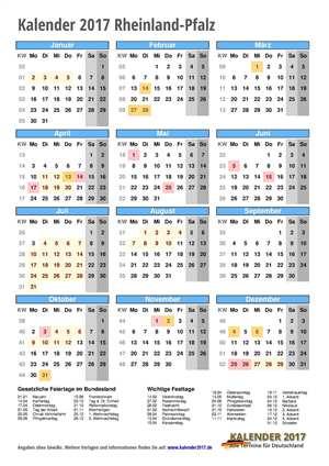 Kalender 2017 Rheinland-Pfalz Hochformat mit Schulferien