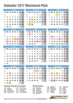 Kalender 2017 Rheinland-Pfalz Hochformat