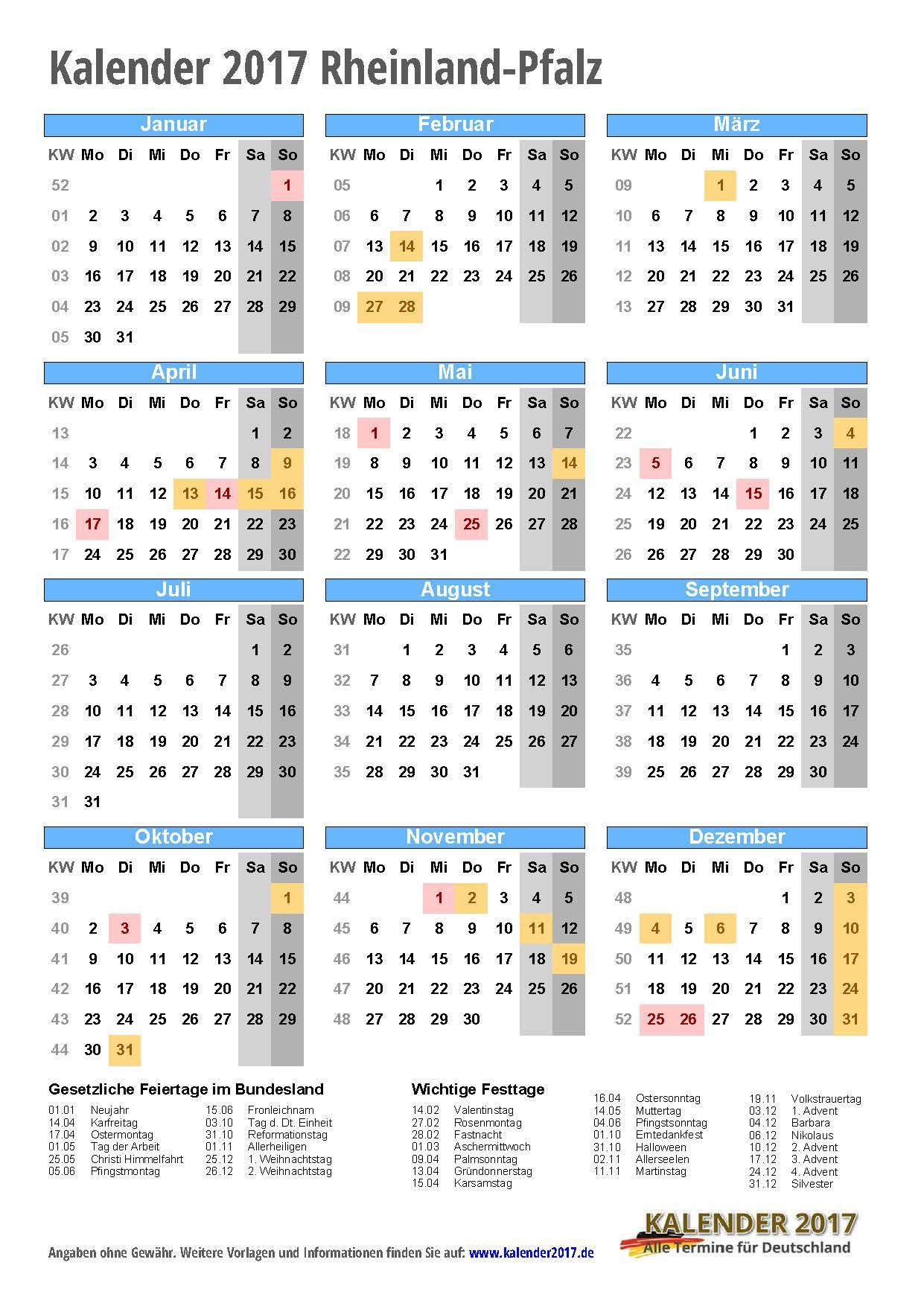 kalender 2017 rheinland pfalz zum ausdrucken kalender 2017. Black Bedroom Furniture Sets. Home Design Ideas