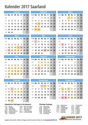 Kalender 2017 Saarland Hochformat mit Schulferien