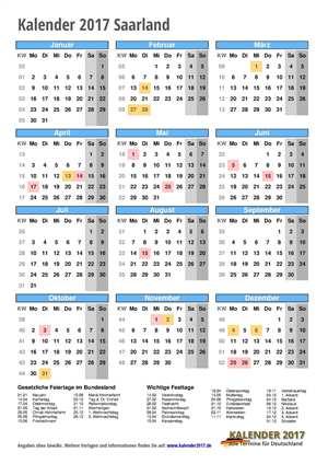 Kalender 2017 Saarland Hochformat