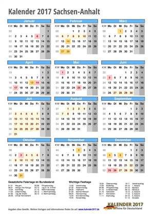 Kalender 2017 Sachsen-Anhalt Hochformat mit Schulferien