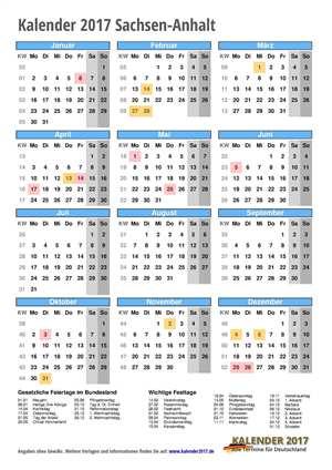 Kalender 2017 Sachsen-Anhalt Hochformat