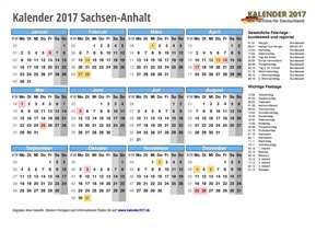 Kalender 2017 Sachsen-Anhalt