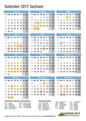 Kalender 2017 Sachsen Hochformat mit Schulferien