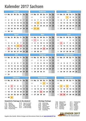 Kalender 2017 Sachsen Hochformat