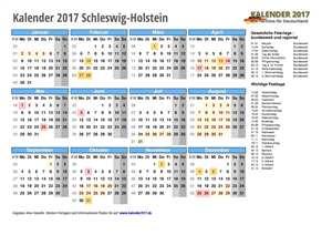 Kalender 2017 Schleswig-Holstein Schulferien