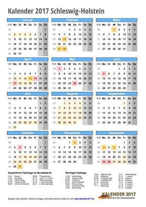 Kalender 2017 Schleswig-Holstein Hochformat mit Schulferien
