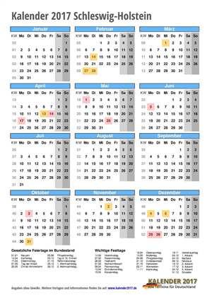 Kalender 2017 Schleswig-Holstein Hochformat